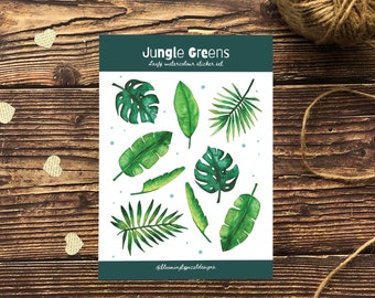 Leaf Sticker Sheet /A5 - Plant Stickers - Bullet Journal Stickers - Glossy Sticker Set - Jungle Stickers - Laptop Stickers - Diary Stickers