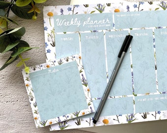 Floral A4 Weekly Desk Pad - Weekly Planner Notepad - Tear Off Desk Pad - Weekly Organiser - Productivity Notepad - Plant Gift - A4 Notebook