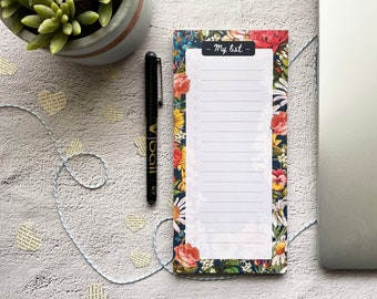 Floral List Pad - Shopping List Notepad - Tear Off - Office Gift - Stocking Filler - Christmas Gift - DL Notepad - Memo Pad - Checklist