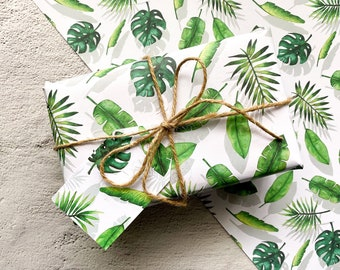 Recyclable Wrapping Paper and Tags - Luxury Gift Wrap - Wrap and Tags Set - Leafy Plant Gift Wrap - Birthday Wrapping Paper - Gift Wrapping
