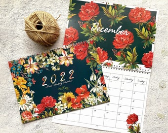 2022 Floral Calendar / 2022 Illustrated Calendar / A4 Monthly Calendar (double page) / Botanical 12 month 2022 / Flower Lover Christmas Gift