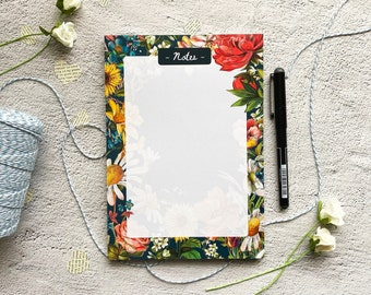 Floral A5 Desk Pad - Daily Planner Notepad - Tear Off Pad - A5 Notebook - Botanical Office Notepad - Christmas Gift - Stocking Filler