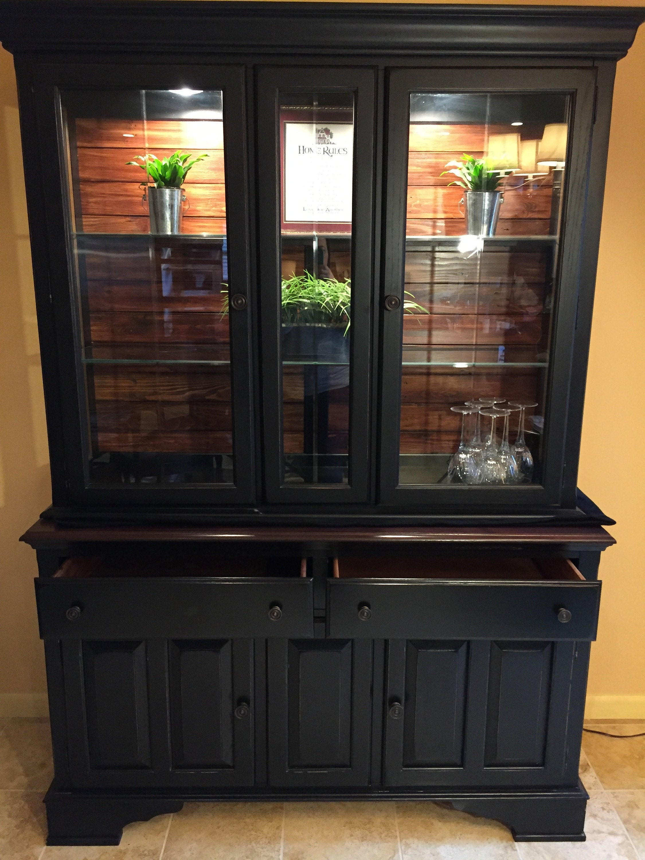 Gorgeous Modern Farmhouse Style Hutch / Buffet / Server / Black China Cabinet  **Local Pick Up Only** for sale