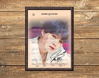 "BTS Music K-POP Jin Signed Autograph PRINT 6x4/"" Gift"