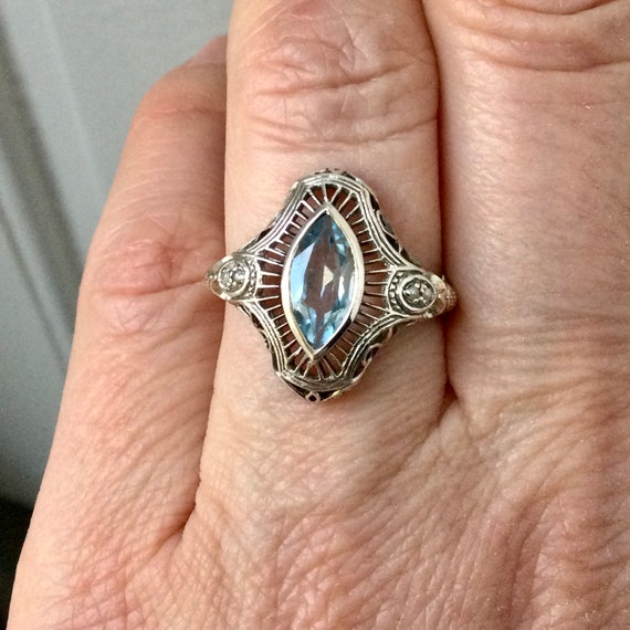 from France Marquise Sublime Carved design Small Seed Pearl AQUAMARINE SEED PEARL Carved Victorian Vintage Ring Sparkly Stone