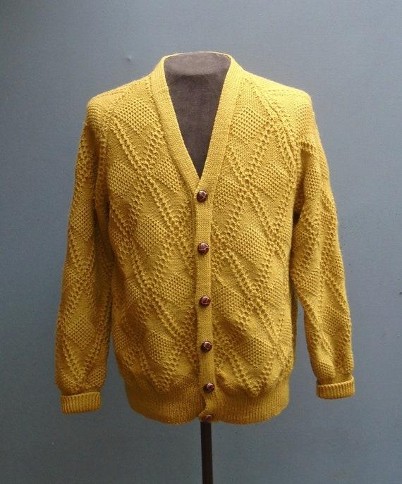 Original Vintage 1950s Hand Knitted Mustard Wool C