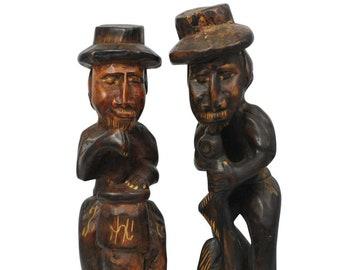 Oriental Vintage Carved Wood Two Men's Sculptures