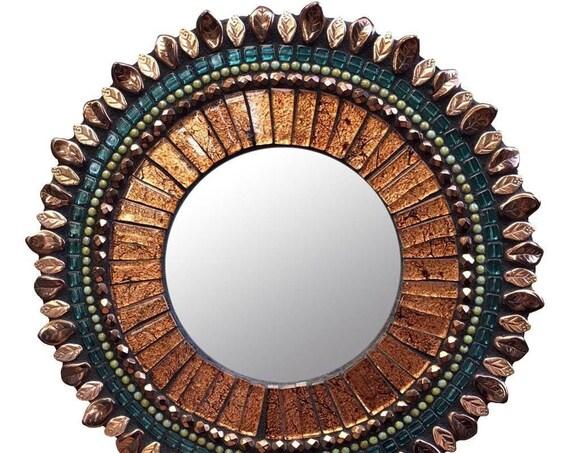Bronze Ruffle Zetamari Mosaic Handmade Wall Decor