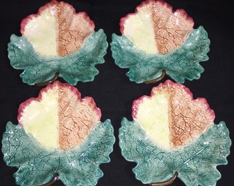 Fitz And Floyd Hand Painted Vintage Leaf Trays Set Of 4