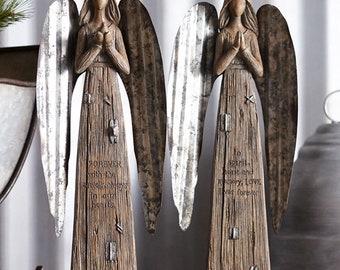 "Melrose Angel Set Of 2  13.75""H Polyresin Metal Brown Grey Color"