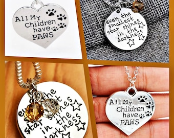 Two Luverly Silver Pendant I love Animals And Even The Smallest Star Shines In The Darkness Unisex