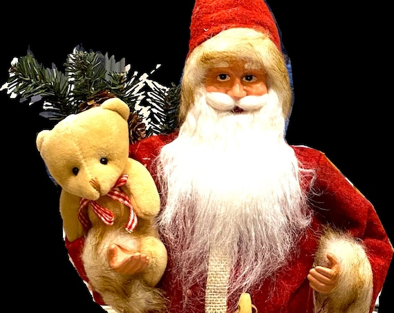 "Red 24"" Tall Velvet Santa Clause Ready For Holidays In Any Home! Ho Ho Ho-24hrs Shipping"