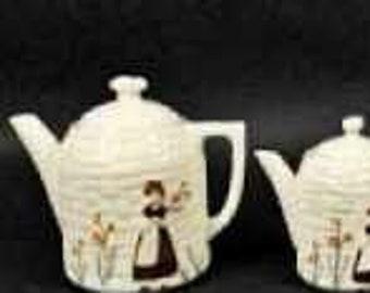 Vintage Porcelier Vitreous Cobblestone Tea Coffee Pot Set- 4 Pieces 1920-1954 - Apply 20% OFF