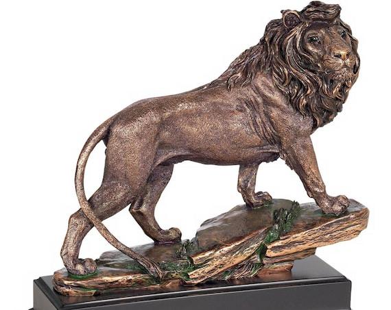 Regal Lion 11 Inch High Sculpture in a Bronze Finish Kensington Hill