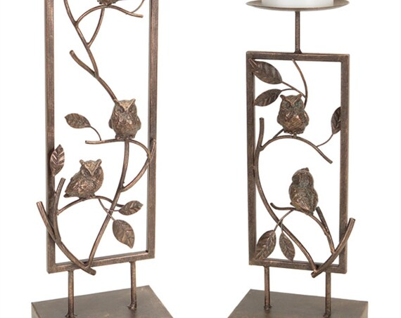 "Set Of 2 Distressed Metal Owl Candle Holders  14.5"", 19""H By Melrose International -"