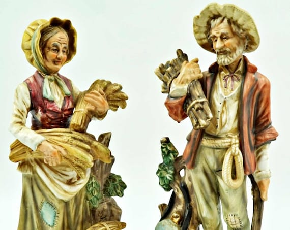 Antique Figurine Set Of Home Co Style  Man and Women Couple. Ships In 24Hrs.