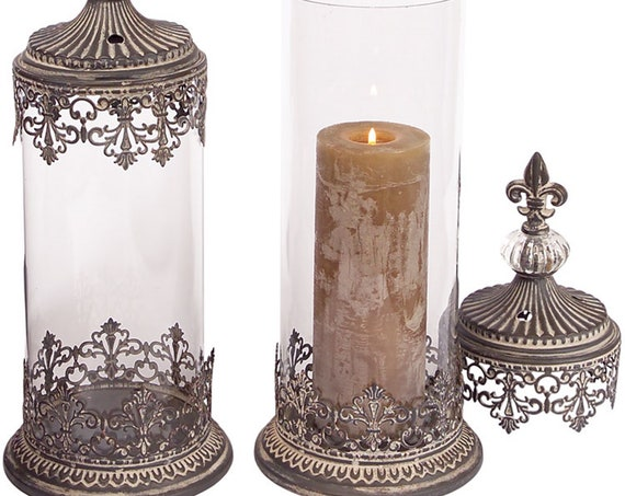 "Set Of 2 Tall Matel Glass Candle Holder With Lid 16.5""H, 18""H By Melrose International"