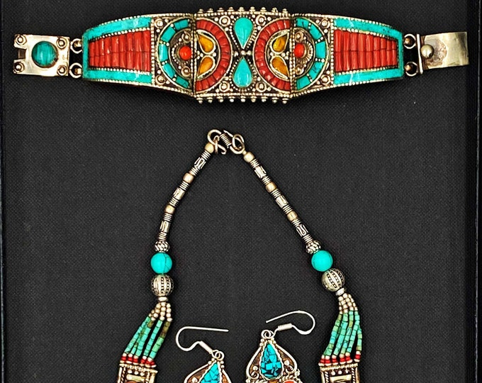Ethnic Handmade Gem Stones Copper Inlay Silver Nepalian Long Necklace