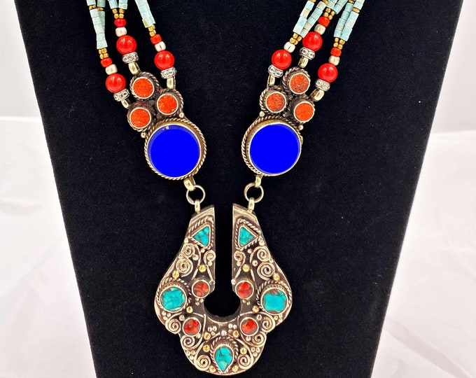 Ethnic Handmade Gem Stones Copper Inlay Silver Nepalian Necklace