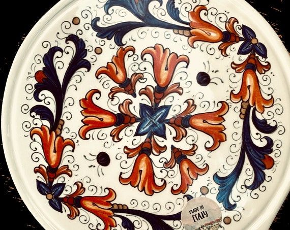 A Pair Of Trivet Hand Painted Ceramic Round Shape Handle Set Made in Italy.