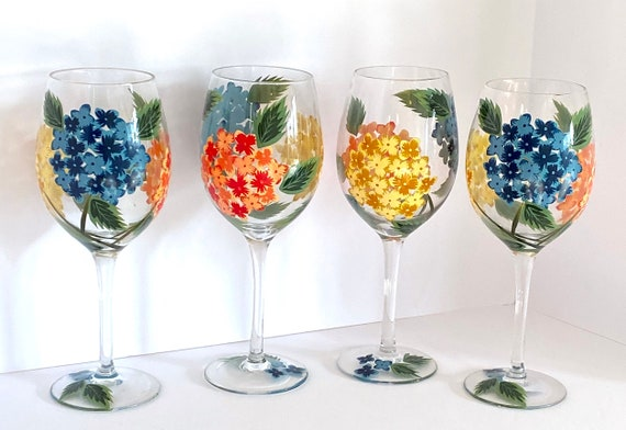 Hand Painted Peir 1 Long Stem Glass Set Of 4