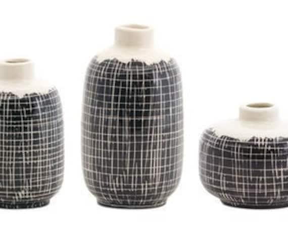 """Melrose Black And Cream Colors Terra Cotta Mini Vase Set Of 3- 3.5""""H, 5.25""""H, 6.25""""H-"""