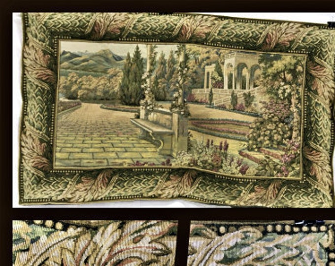 Vintage Scenic Woven Wall Tapestry, Textile Arts