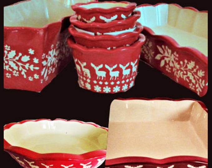 Artisan By Ciroa Red Quality Stoneware Ramekins Red Oven Safe Dishes - Happy Holidays! Apply 20%OFF
