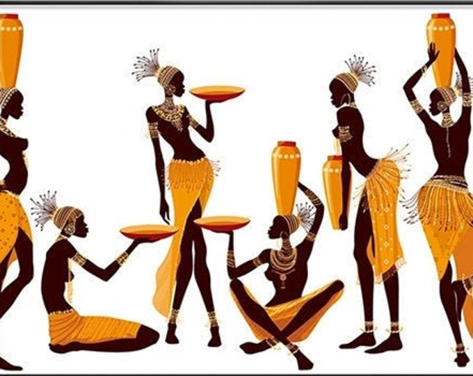 African Women Dancers Abstract Art Illustration Canvas Print 20X40 Inches