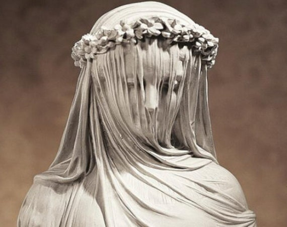Unique The Veiled Maiden Sculptural Bust 14 Inch High Wood Base