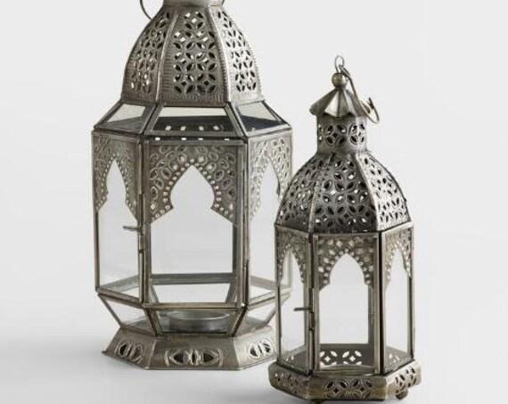 Antiqued Zinc Latika Tabletop Lantern For Holidays