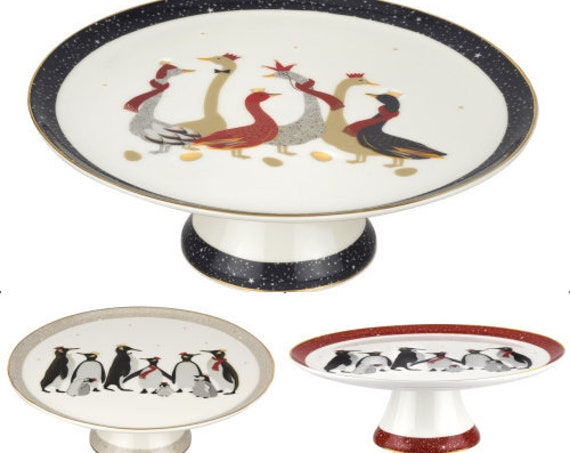Sara Miller London For Portmeirion Penguins And Geese 10.5 Inch Footed Cake Plates