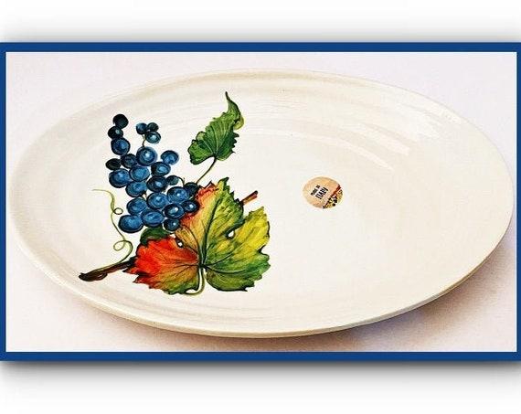 "Effetti d'Arte Ceramic Serving Large Oval Dish 13""X9""X1.5""- Handmade In Italy"