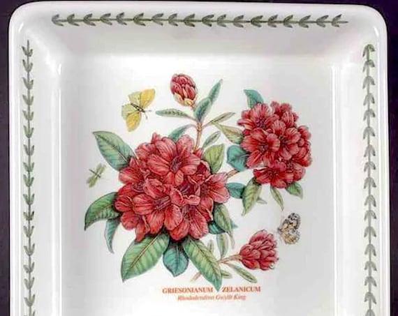"""10"""" Square Deep Rhododendron Motif Dish - Botanic Garden"""