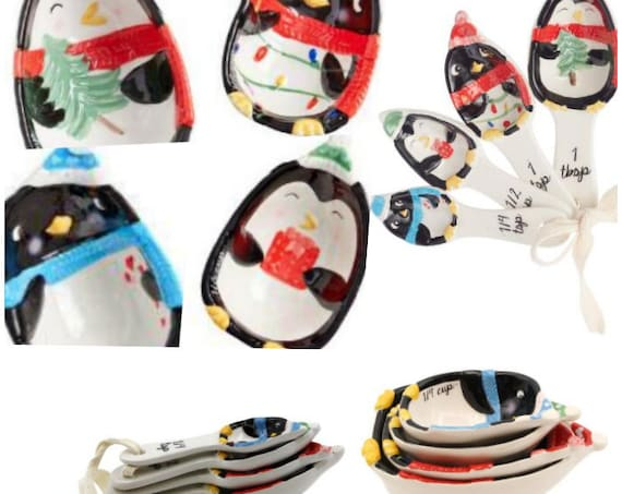 Penguin Nesting Measuring Cups And Spoon Set Ceramic