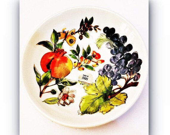 """Ceramica Cuore Grap Round Serving Bowl 9""""W 2"""" Deep-Made In Italy"""