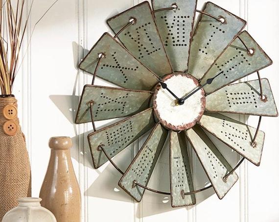 "Rough Metal Windmill Wall Clock 14.5"" Radious"
