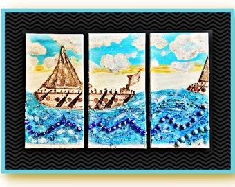 Authentic Unique Handmade Mix Medea Art 3 Panels Set Painting - Apply 20% OFF