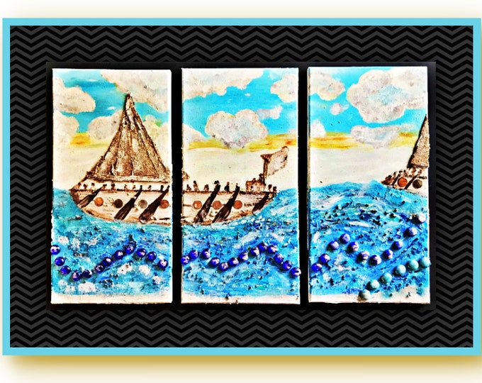 Authentic Unique Handmade Mix Medea Art 3 Panels Set Painting - Apply 20% OFF