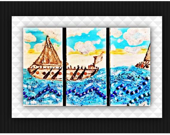 Authentic Unique Handmade Mix Medea Art 3 Panels Set Painting