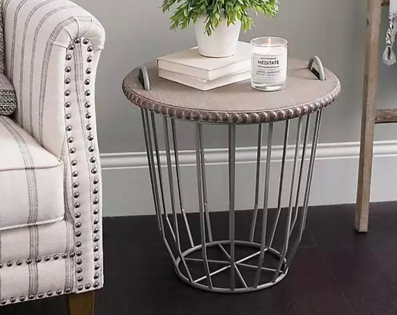 OUT OF STOCK-Gray Metal Wire Basket with Beaded Wood Top Accent Table