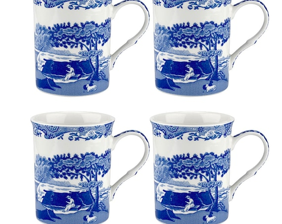 Set Of 4 Classic Spode Blue Italian 12 oz Mugs
