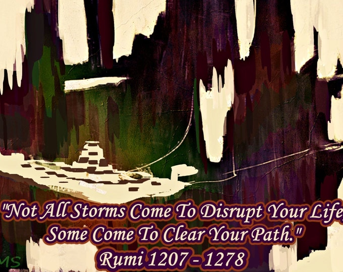 "Famous Poet Rumi's Life Changing Quote ""Storm"" on Painted  Canvas Framed 1207-1278"