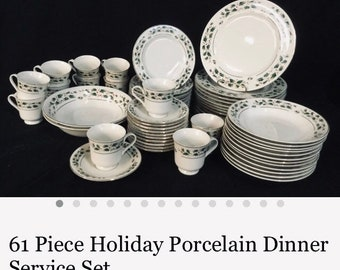 Perfect Holiday Christmas Theme Holy Leaf & Barrie's Fine China Dinner-set For 4