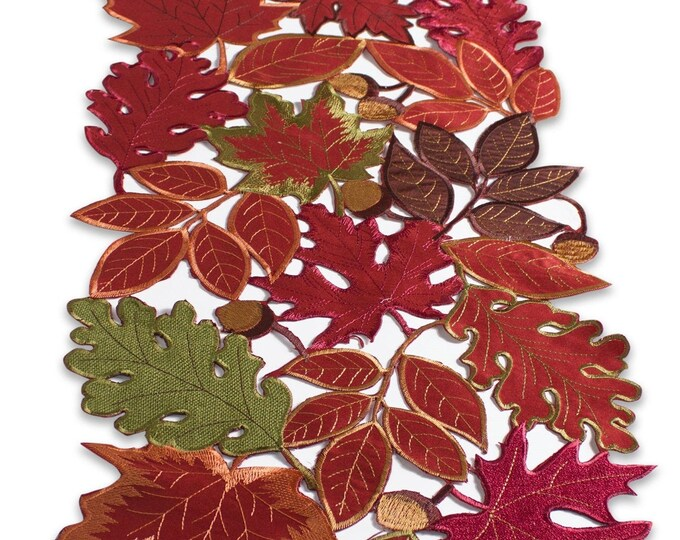 """Melrose -  Autumn Leaves Table Runner 13"""" Wide X 72""""Long Rich Colors And Design Collection"""