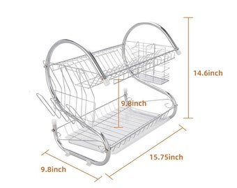 2-Tier Dish Drying Stainless Steel Kitchen Space Saver Rack