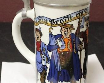 "Vintage Kurt Hammer Germany Pewter Lidded Porcelain Beer Stein Mug 9"" Tall-Apply 20% OFF"