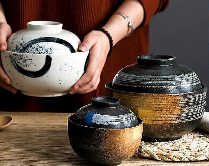 Japanese Style Creative Ceramic Bowls With Lids Great Gift!