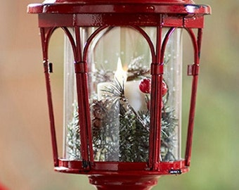 "Melrose Pedestal Lantern Pillar Candle Holders In Red For Holidays 17""H"