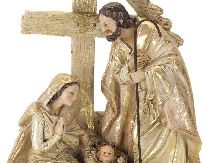 Melrose Holy Family with Angel Baby And Lamb Figurine  - Brown Cream Gold
